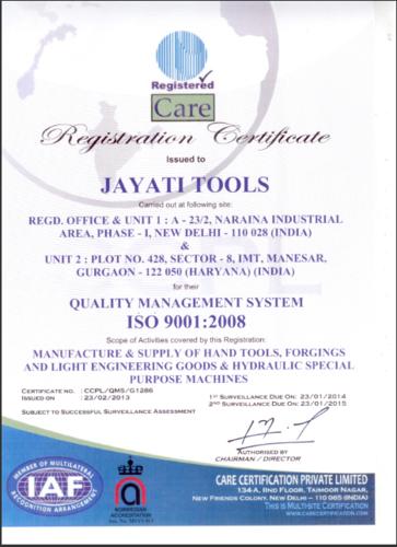 ISO 9001 Jayati Tools
